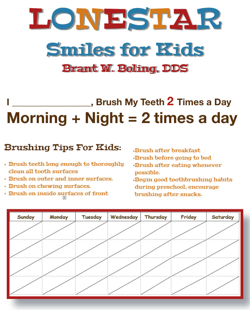 Tooth Brushing Motivational Chart